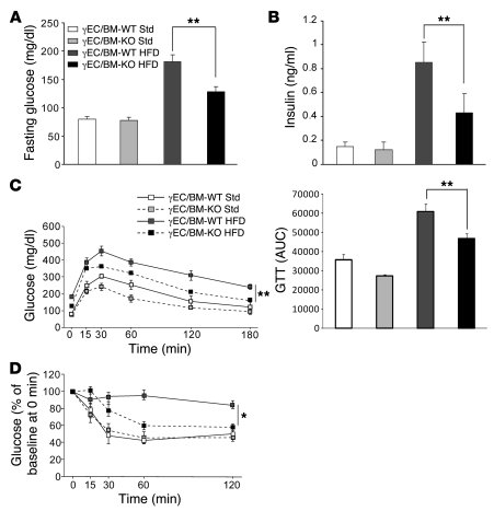 Tie2Cre-mediated PPARγ deletion improves glucose control and insulin sen...