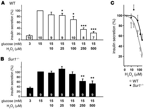 Influence of H2O2 on insulin secretion from WT and Sur1–/– islets.     C...