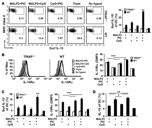 Enhanced IL-15 expression of the triple-TLR combination is associated wi...