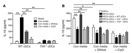 Endogenous DNA promotes cDC IL-10 production through TLR9. (A) Immunomag...