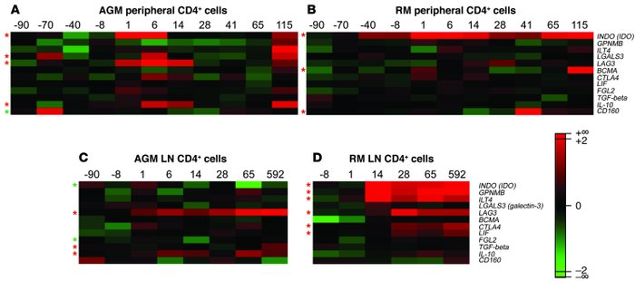Microarray results for immunosuppressive genes in blood and LN CD4+ cell...