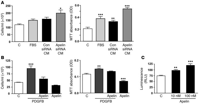 Apelin deficiency in PAECs contributes to PASMC proliferation. (A) PAEC-...