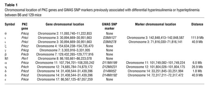 Chromosomal location of PKC genes and GWAS SNP markers previously associ...