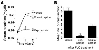 Experimental peptide 1 served as an effective inhibitor of cast nephropa...