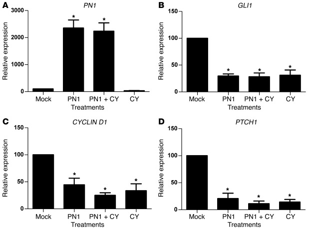 PN1 reduces Hh signaling in metastatic prostate cancer cells. RNA expres...