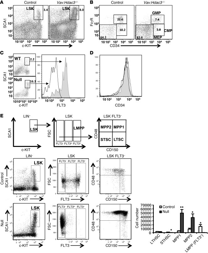 Inactivation of Hdac3 increases early stem and progenitor cells and bloc...