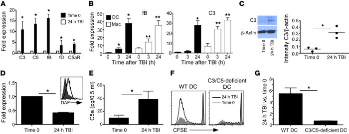 TBI causes DC complement upregulation and complement-dependent augmentat...