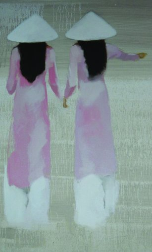 Young Vietnamese women (detail from Schoolgirls, a painting by Nguyen Vi...