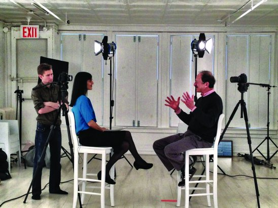 Ushma Neill interviewing Harold Varmus on February 17, 2012. Image credi...