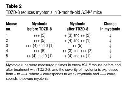 TDZD-8 reduces myotonia in 3-month-old HSALR mice