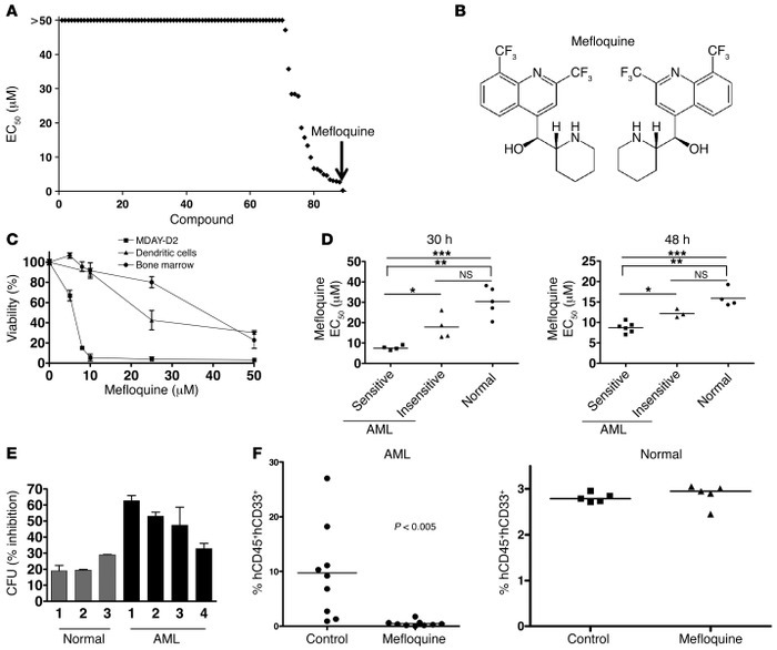 Mefloquine exhibits cytotoxicity against AML cells in vitro. (A) High-th...