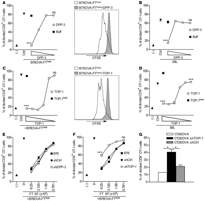 DPP-3 and TOP-1 preclude CD8+ T cell priming.   Titrated amounts of reco...