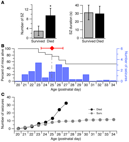 Spontaneous seizures and sudden unexpected deaths in DS mice. (A) Incide...