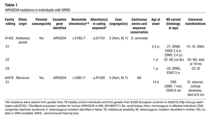 ARHGDIA mutations in individuals with SRNS