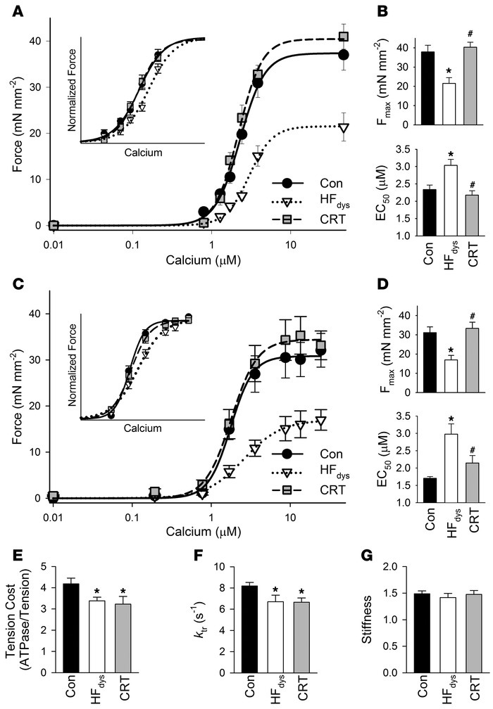 CRT globally restores myofilament function. (A) Force-calcium data and f...