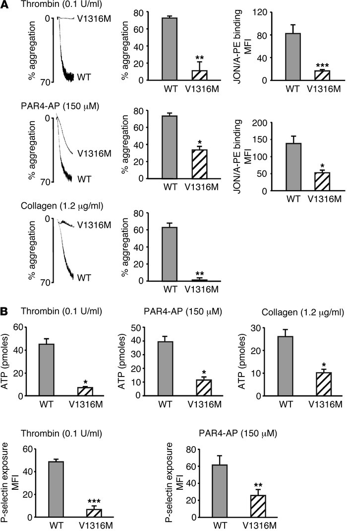 Platelet aggregation, secretion, and αIIbβ3 integrin activation in mvWF/...