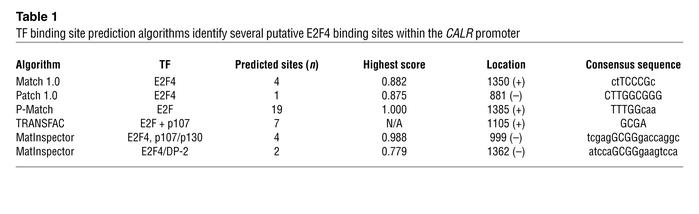 TF binding site prediction algorithms identify several putative E2F4 bin...