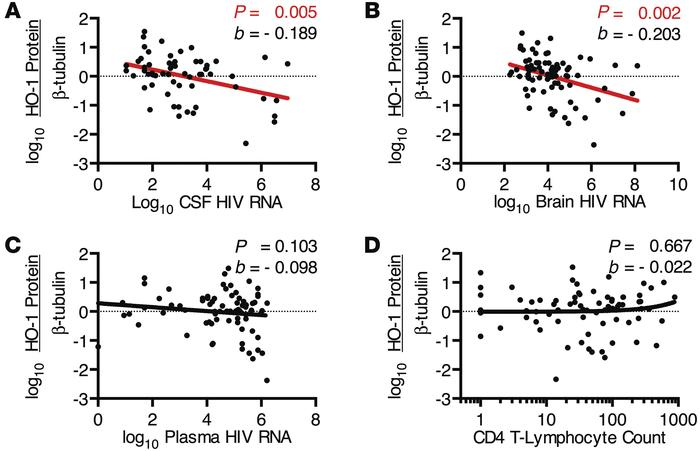 DLPFC HO-1 protein expression correlates with CSF and brain HIV RNA leve...