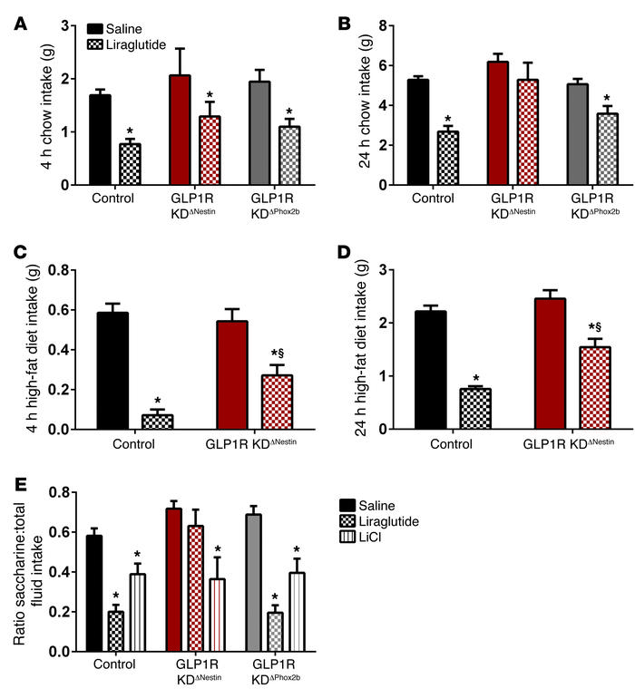 Acute effects of liraglutide in GLP1R KDΔNestin and GLP1R KDΔPhox2b mice...