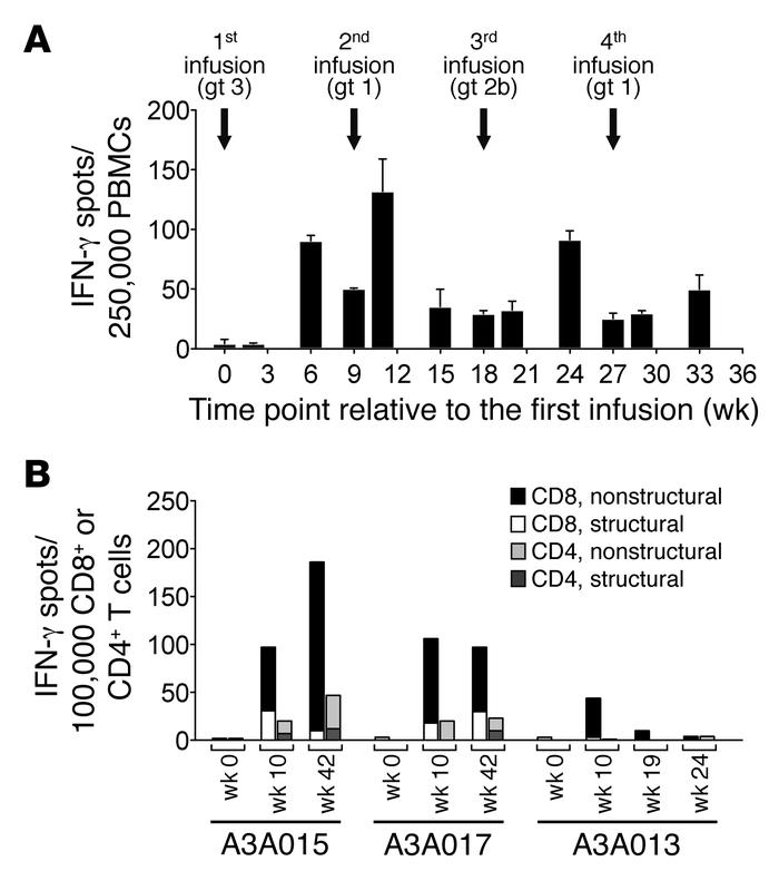 Specificity of CD4+ and CD8+ T cell responses. (A) PBMCs were obtained f...