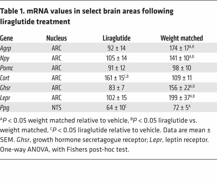 mRNA values in select brain areas following liraglutide treatment