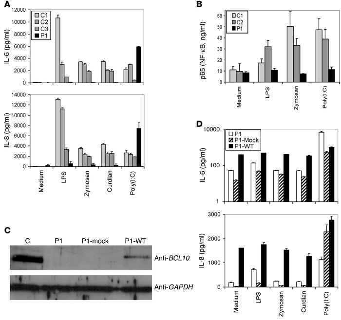 Effect of human BCL10 deficiency on fibroblast immunity. Complementation...