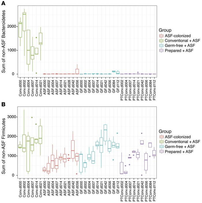 Comparison of non-ASF sequence reads from either Bacteroidetes or Firmic...