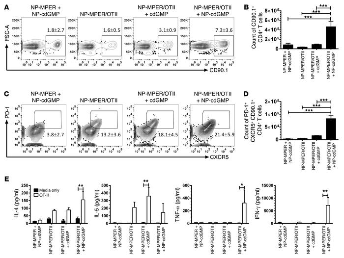 NP-cdGMP promotes antigen-specific CD4+ T cell expansion. (A–D) C57BL/6 ...
