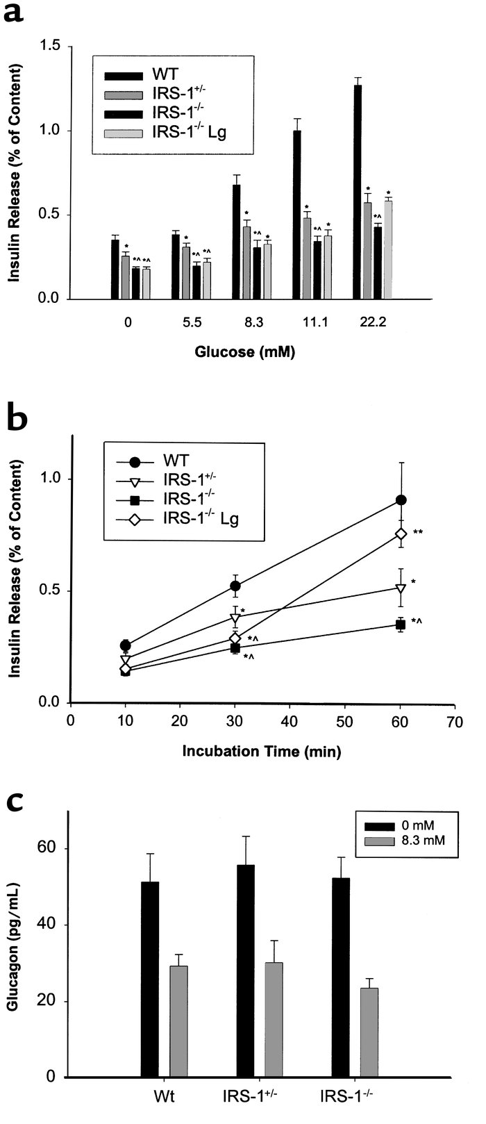 Reduced dose- and time-dependent glucose-stimulated insulin secretion in...