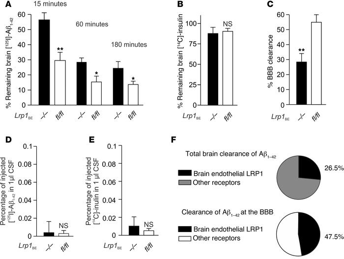 Brain endothelial LRP1 substantially mediates Aβ clearance in vivo. (A) ...