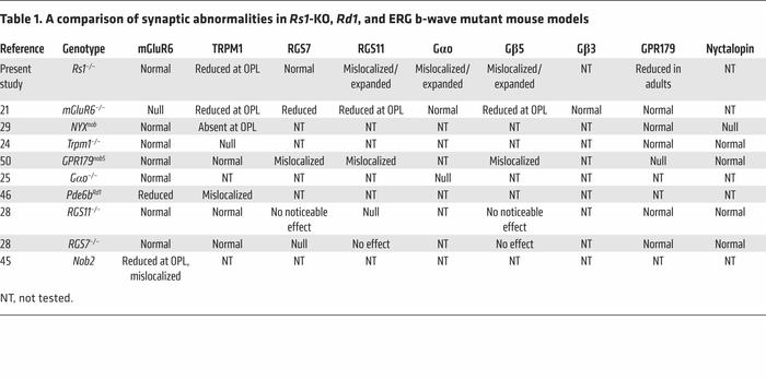 A comparison of synaptic abnormalities in Rs1-KO, Rd1, and ERG b-wave mu...