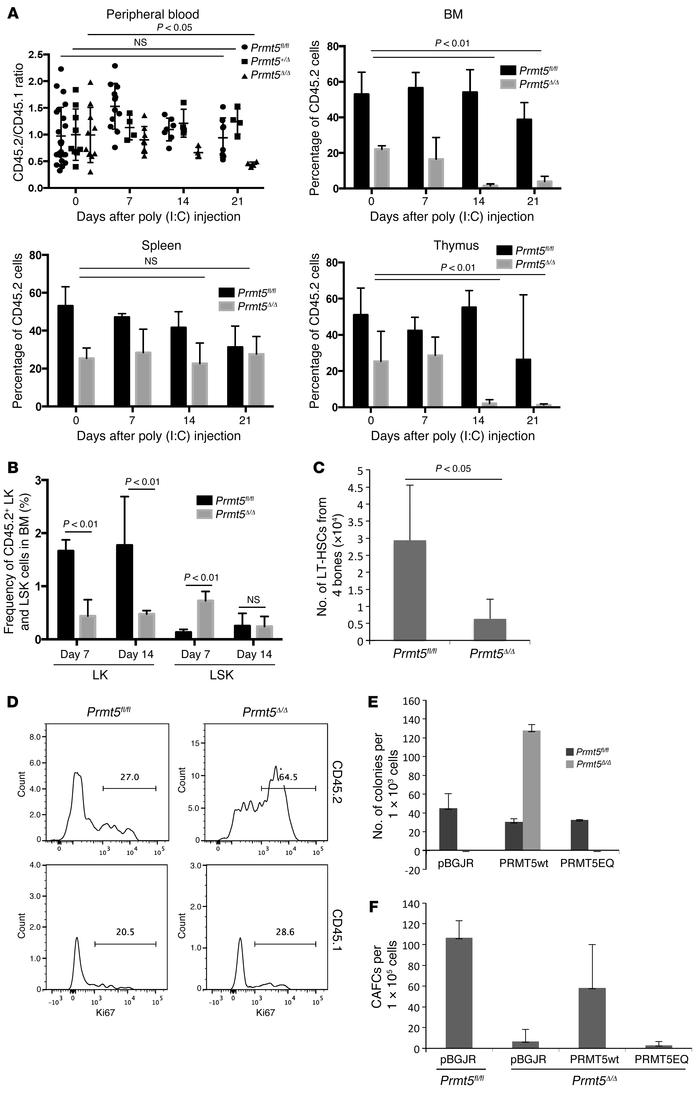PRMT5 functions in HSCs are cell intrinsic and require the methyltransfe...