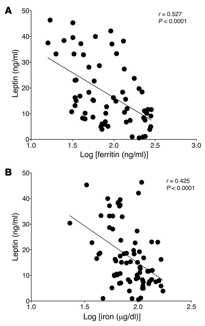 Serum ferritin and iron levels are inversely associated with serum lepti...