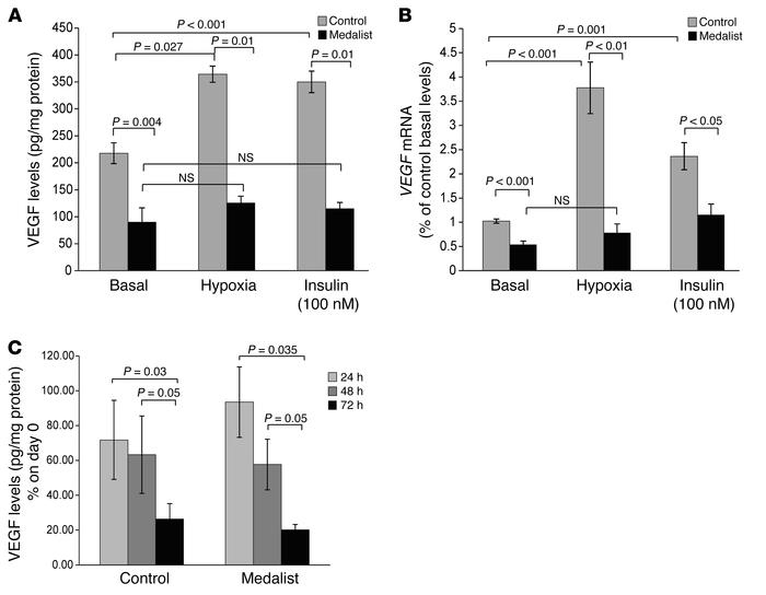 Effect of glucose, insulin, and hypoxia on VEGF expression. Basal VEGF p...