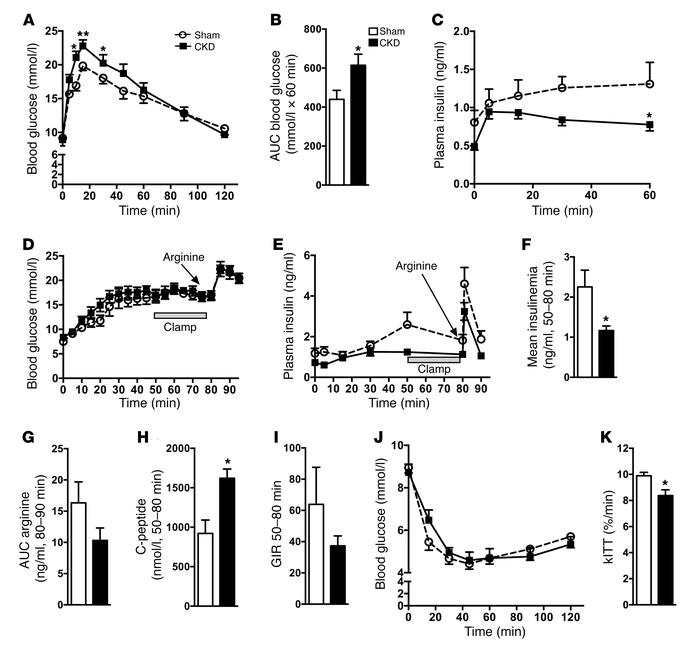 CKD mice have defective glucose-stimulated insulin secretion in vivo. (A...