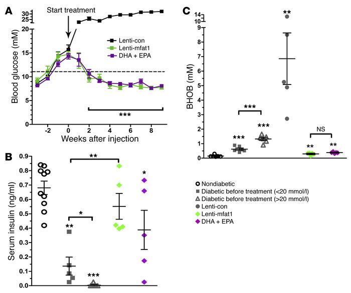 ω-3 PUFAs exert a therapeutic effect on hyperglycemia in diabetic NOD mi...