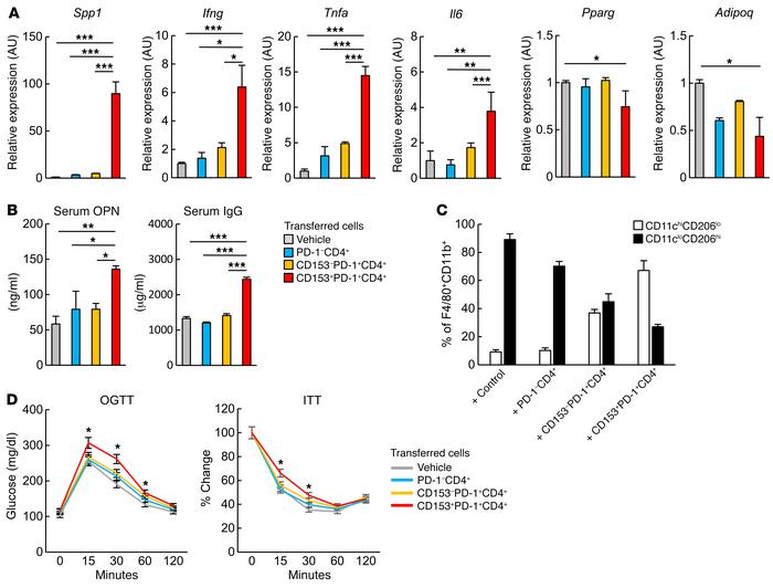 Adoptive transfer of CD153+PD-1+CD4+ T cells induces VAT inflammation an...