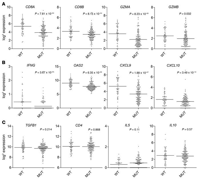 Lower expression levels of CD8+ T cell–associated genes in IDH-MUT versu...