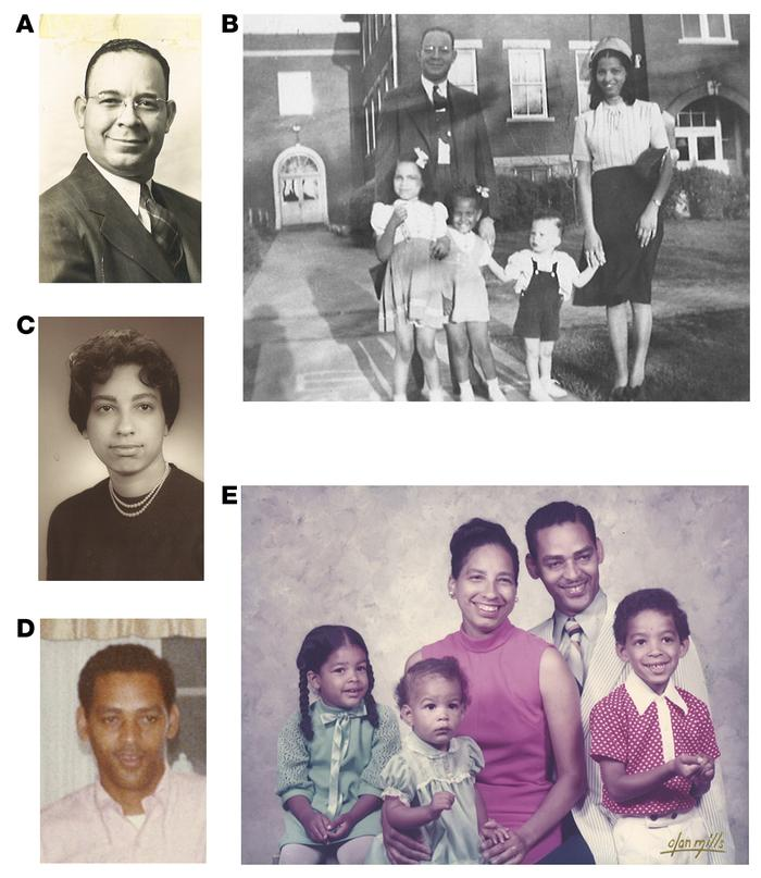 Ancestral roots. (A) Levi Watkins, Sr. (B) Levi and Lillian Watkins with...