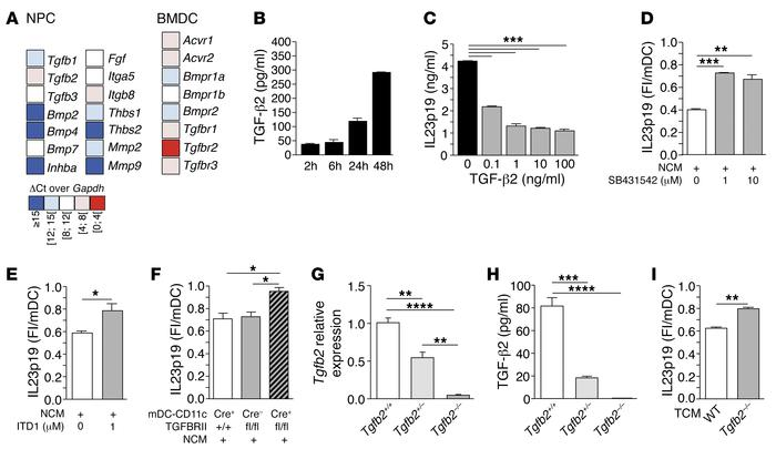 NPCs inhibit BMDC maturation in vitro via TGF-β2. (A) Color-coded expres...