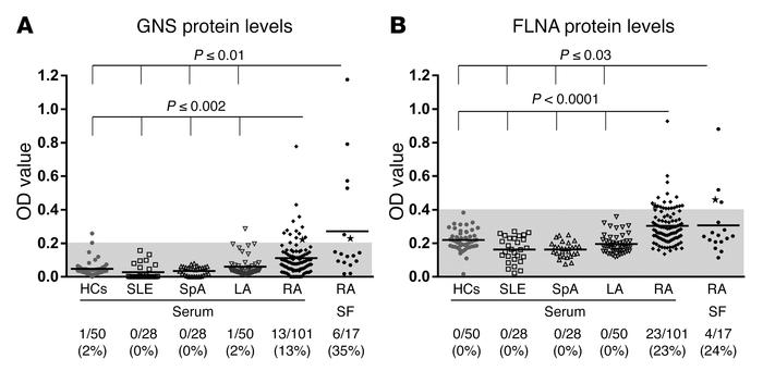 GNS and FLNA protein levels in RA patients and comparison group subjects...