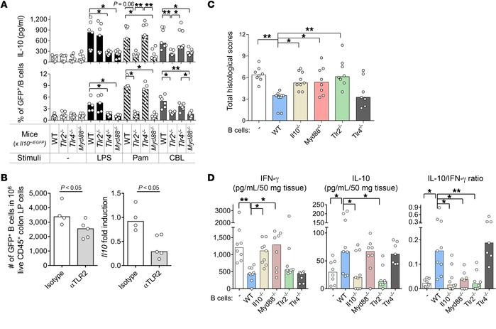 TLR2/MyD88 signaling increases the frequency of IL-10–producing B cells ...