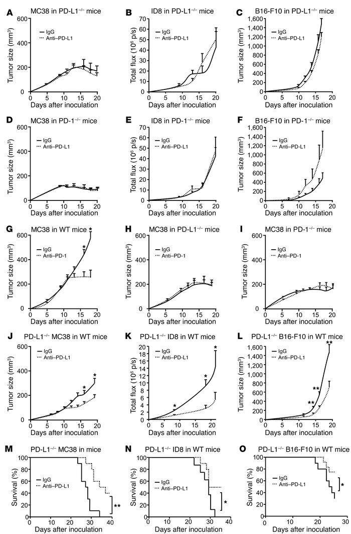 Effect of anti–PD-L1 and anti–PD-1 on tumor volume in tumor-bearing mice...