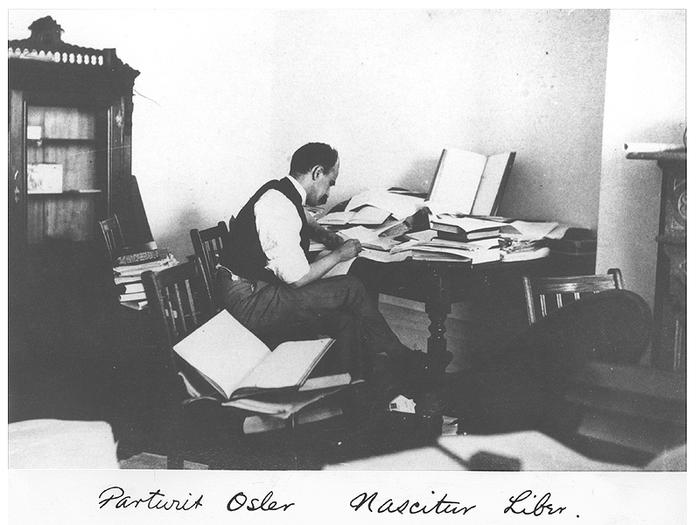Osler at work on his textbook.