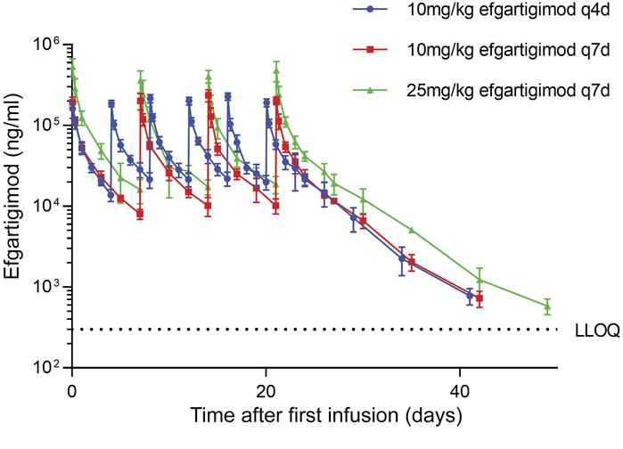 Efgartigimod serum concentration in the MAD part of first-in-human study...