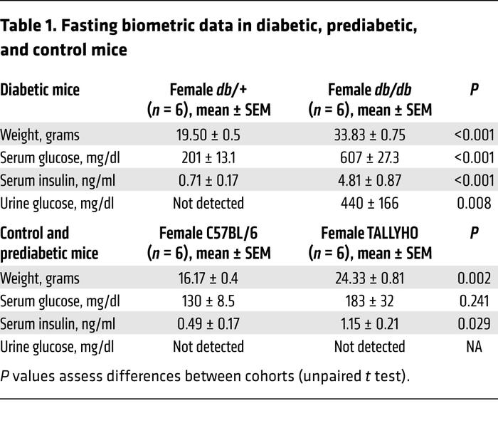 Fasting biometric data in diabetic, prediabetic, and control mice