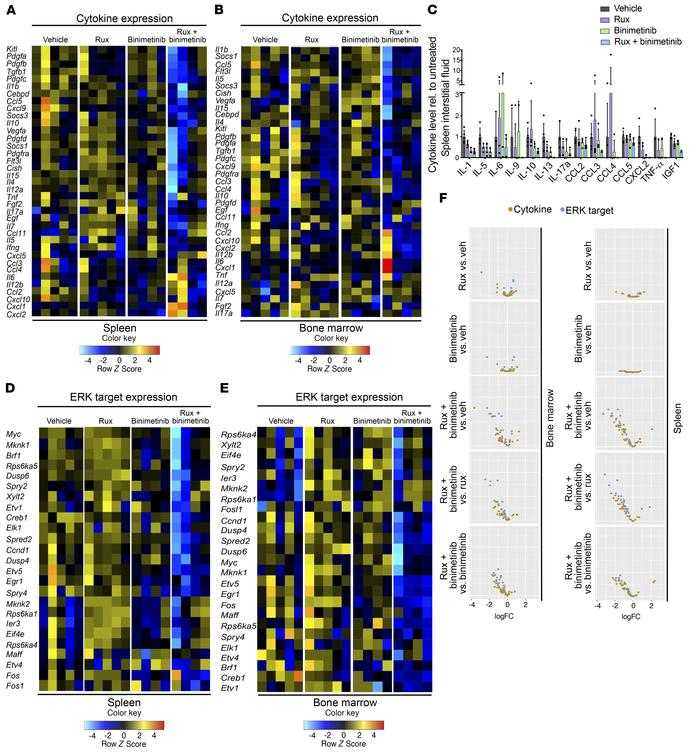 Combined JAK2/MEK inhibition impacts on Jak2V617F-induced expression pat...