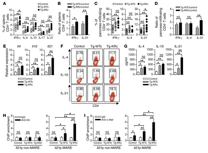 Overexpression of SUMO-defective c-Maf preferentially augments IL-21–pro...