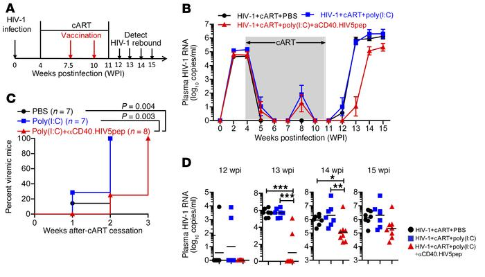Hu-mice receiving αCD40.HIV5pep plus poly(I:C) therapeutic vaccination s...