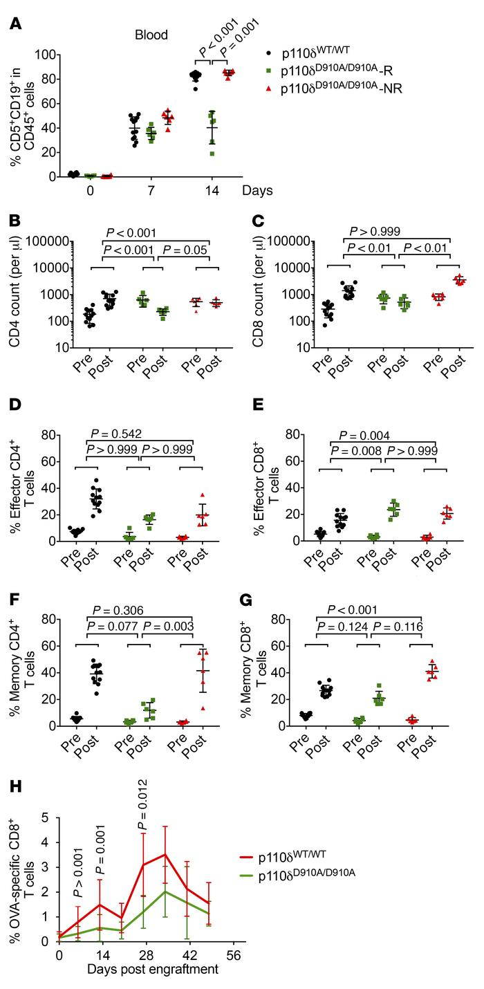 Impact of p110δ inactivation on T cell antileukemia response. p110δWT/WT...